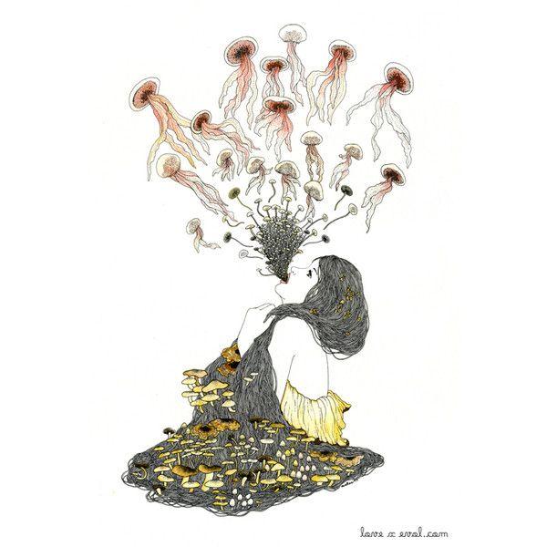 Eveline Tarunadjaja ❤ liked on Polyvore featuring art, animals, drawings, graphics and illustration