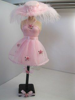 Dress Form Skirt with feathery hat