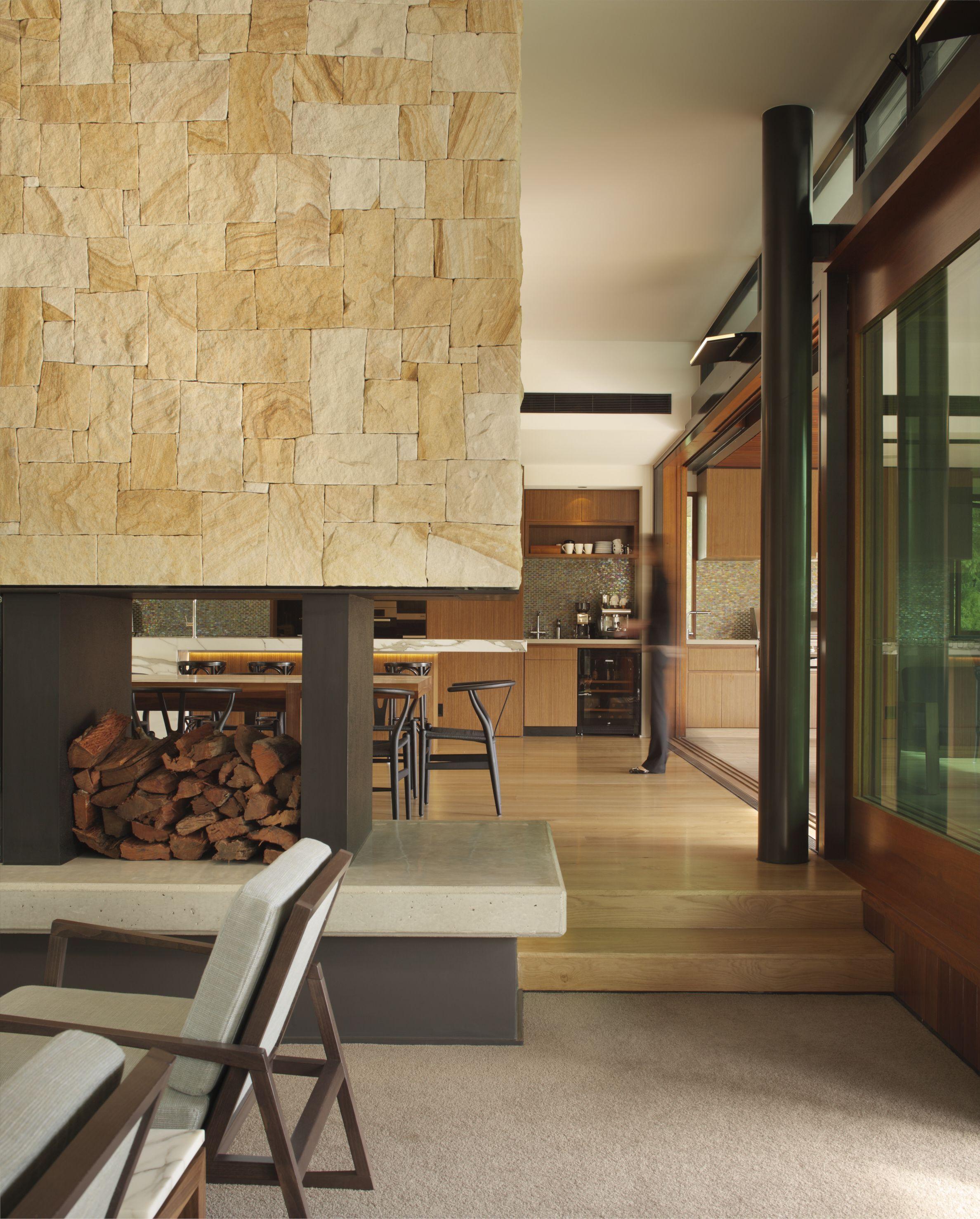Eco Outdoor Killcare Sandstone Random Ashlar Walling On Modern Fireplace
