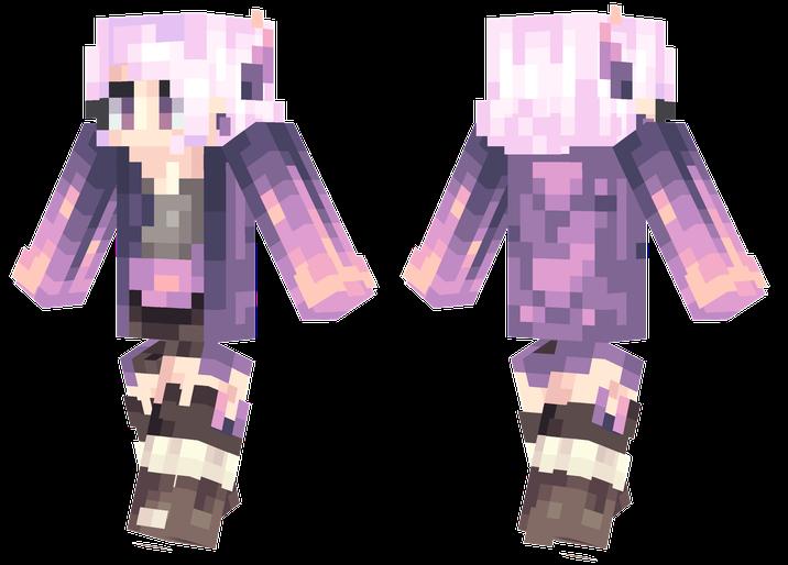 Lavender Minecraft girl skins, Minecraft skins aesthetic