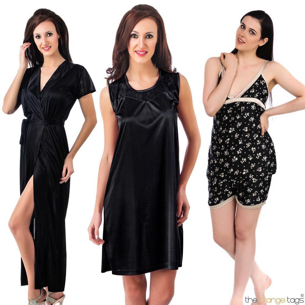 8f87435fd7 WOMENS LADIES PYJAMA SET GIRLS NIGHTWEAR NIGHTY ROBE GOWN 4PC SET GIFT 8-14  in Clothes, Shoes & Accessories, Women's Clothing, Lingerie & Nightwear |  eBay