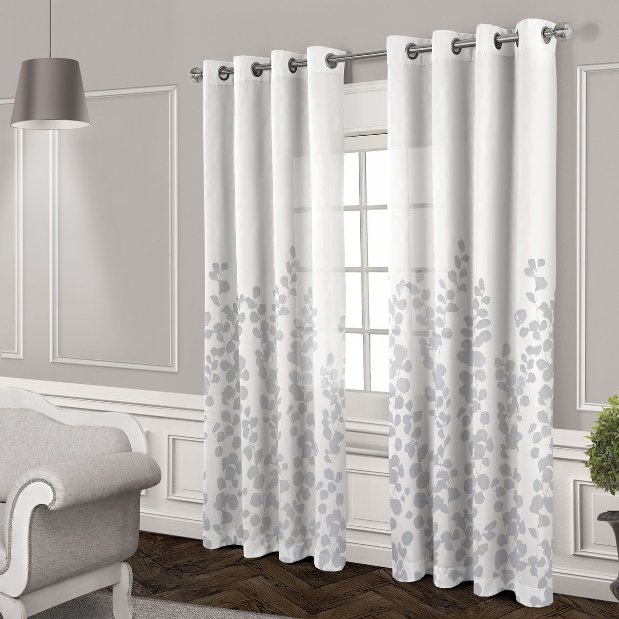 Wilshire Sheer Grommet Curtain Panel White 84 In At Home