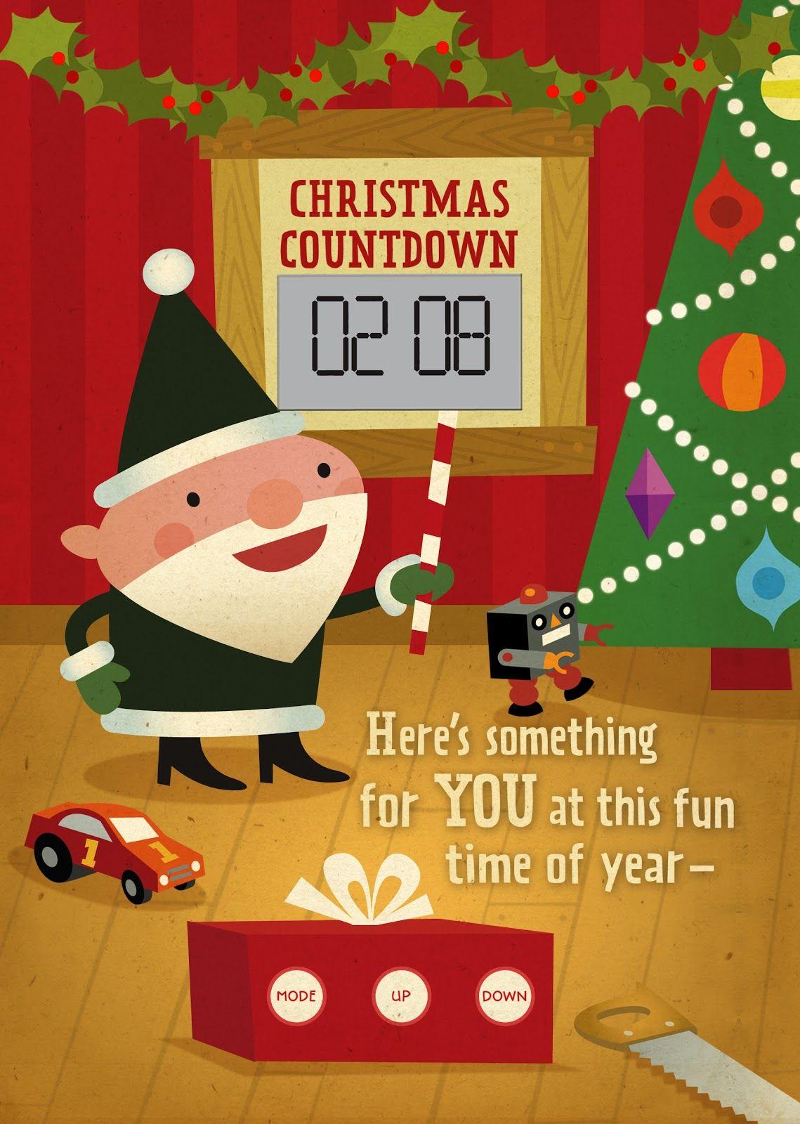 Hallmark Christmas Card Santa Doing A Digital Clock Countdown Christmas Card Online Christmas Card Images Hallmark Christmas Cards