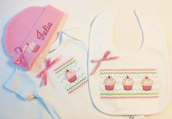 embroidered baby set onesie bib beanie combo custom baby outfit