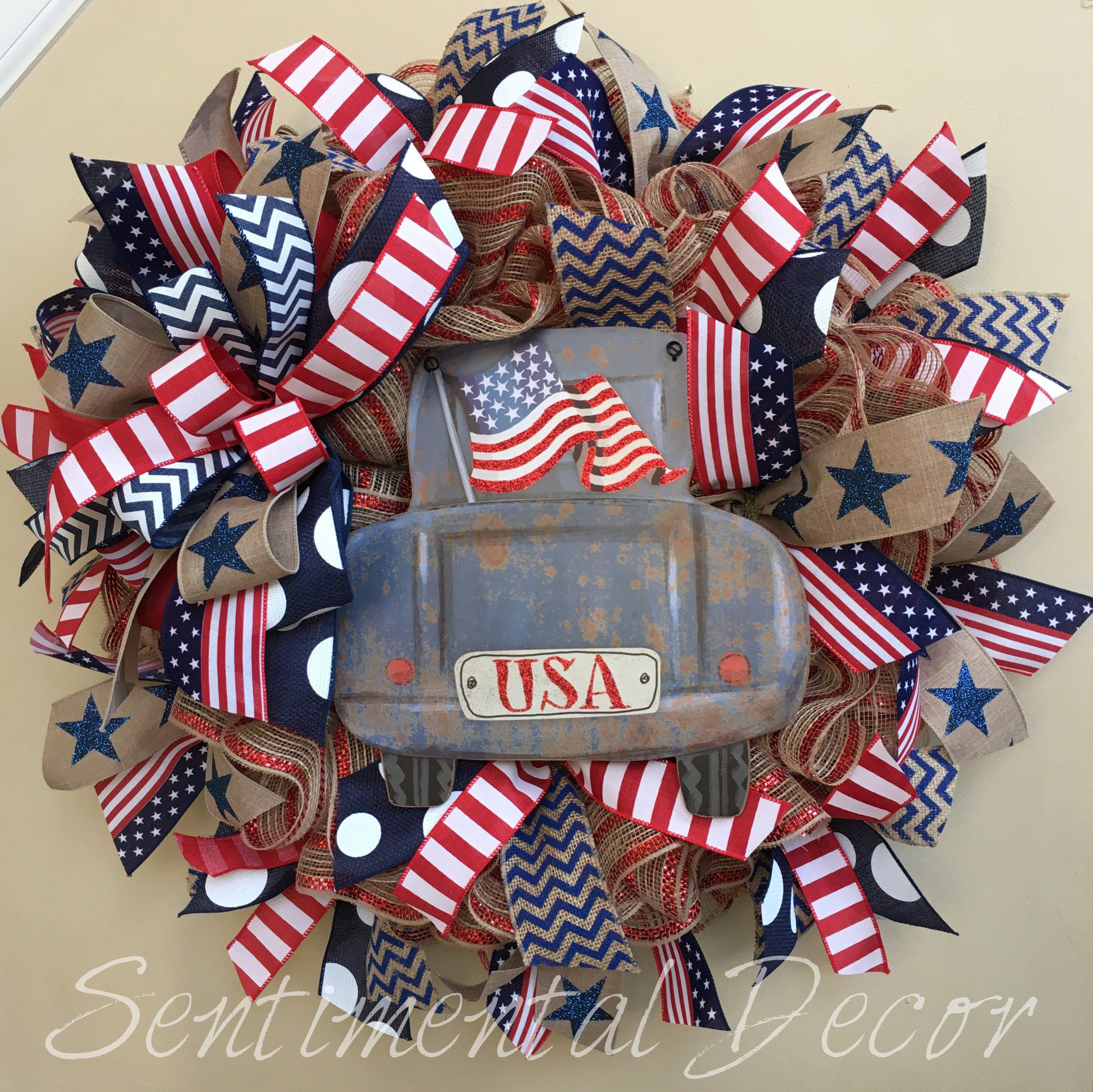 Americana Mesh Wreath Patriotic Truck Truck Wreath Memorial Day Wreath Fourth of July Wreath Patriotic Wreath USA Mesh Wreath