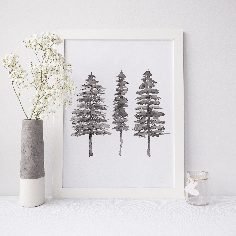 Minimalist Pine Tree: Minimalist Nordic Forest Black And White Pine Tree Ink