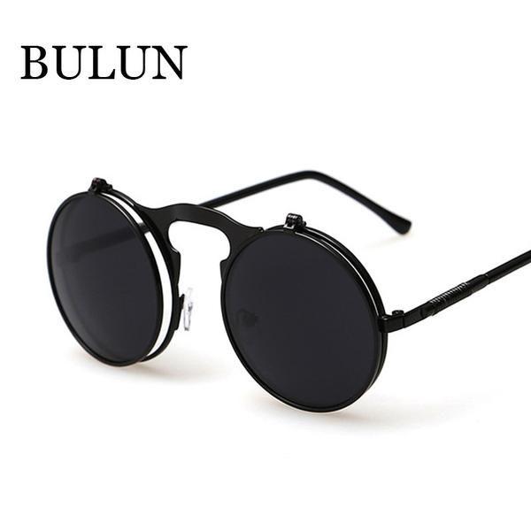 8f32639639 FuzWeb:BULUN Mujeres VINTAGE STEAMPUNK gafas de sol redondas steam punk  para mujer gafas de sol Hombres Retro CIRCLE SUN VIDRIOS
