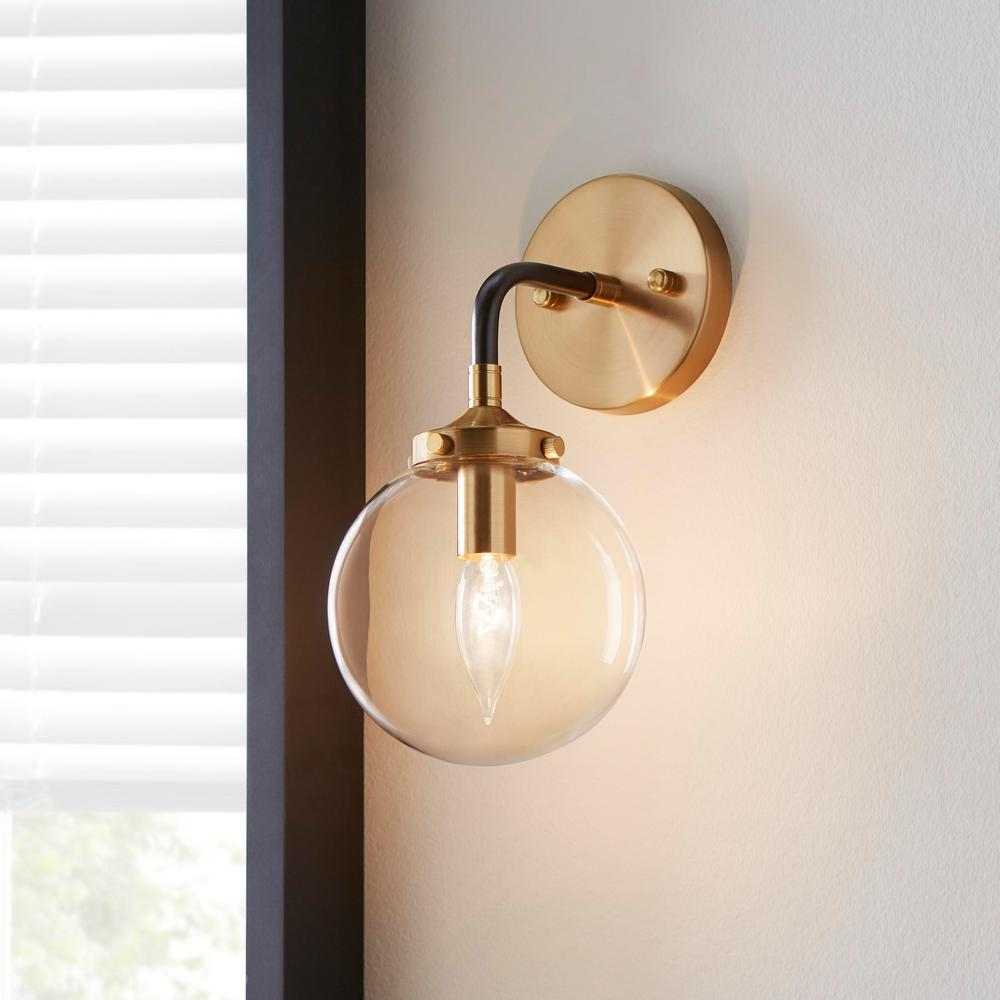 Boudreaux 1 Light Matte Black And Antique Gold Wall Sconce Tn 75432 The Home Depot In 2020 Antique Gold Wall Sconce Gold Wall Sconce Gold Wall Lights