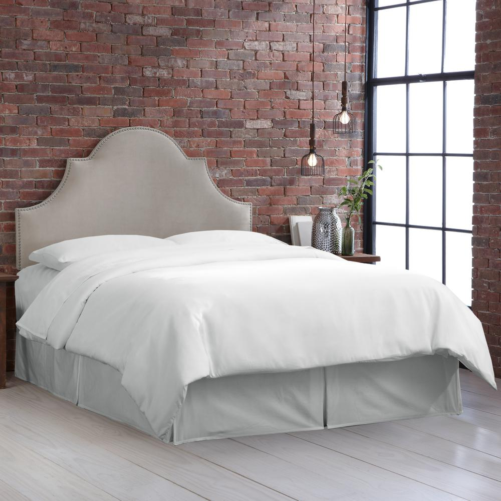 Normandy Velvet Light Grey Twin High Arch Notched Headboard With