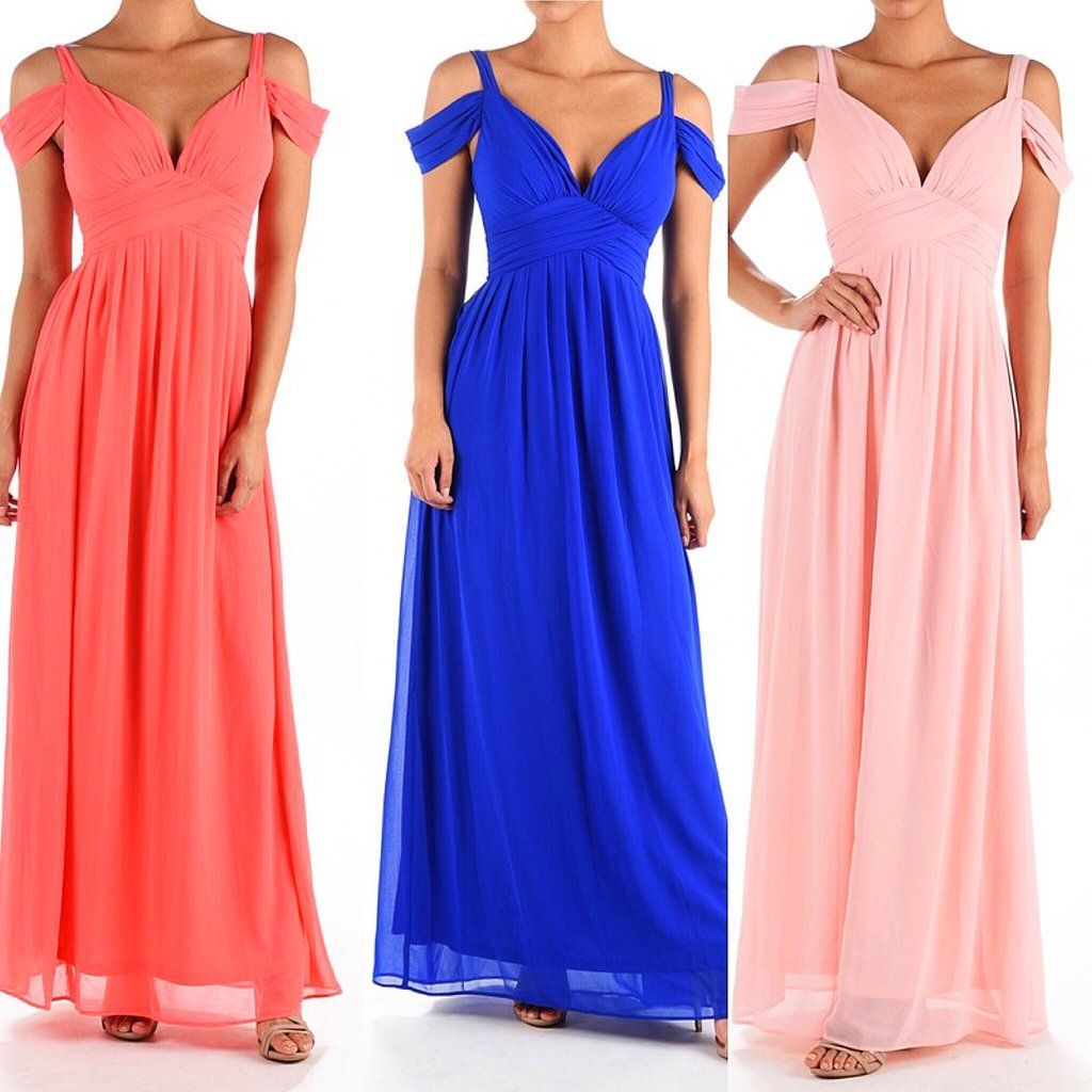 Go with the flow off shoulder maxi bridesmaid dress pink coral and