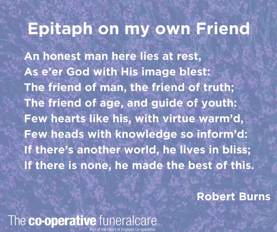 Robert Burns Poem For Funerals Memorials And Burns Night