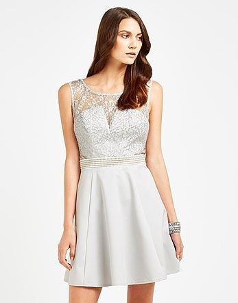 c65a126ecd Womens silver lace top skater dress from Lipsy - £68 at ClothingByColour.com