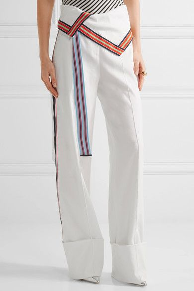 Grosgrain-trimmed Stretch Linen-blend Wide-leg Pants - Off-white Diane Von Fürstenberg 1awNY