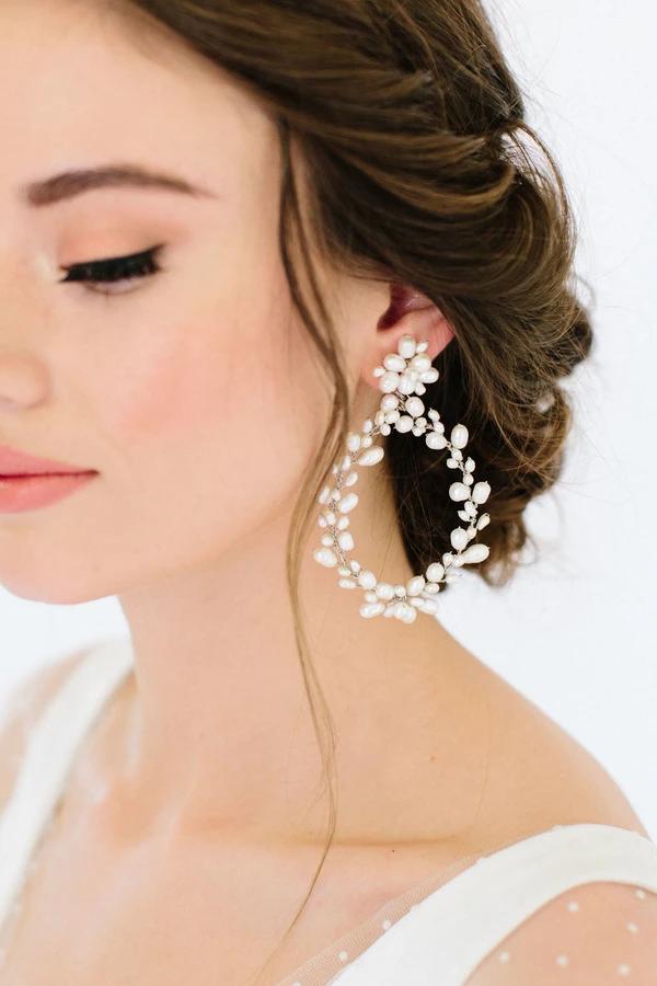 Pearl Headband with Pearl Hoop Dangle Earrings for Women Girls Bridal