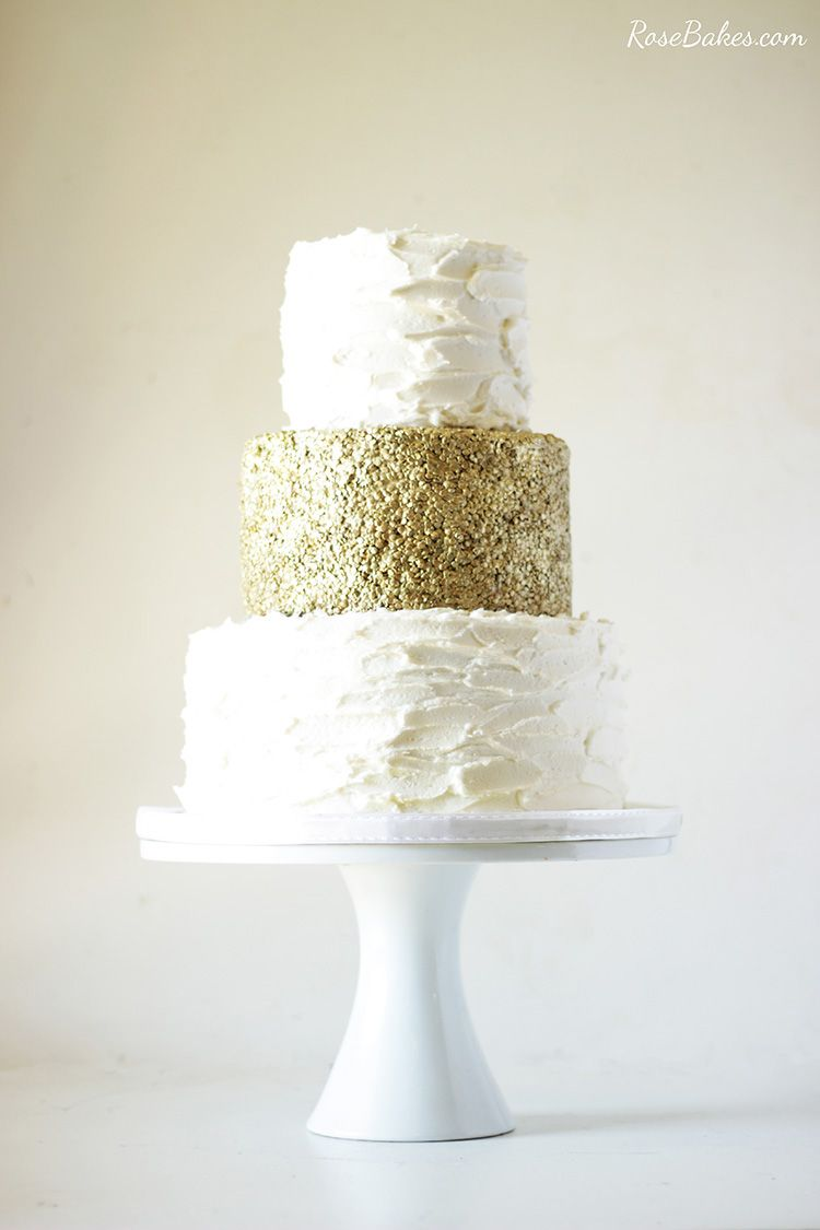 50th Wedding Anniversary Cake with Edible Gold Sequins | Wedding ...