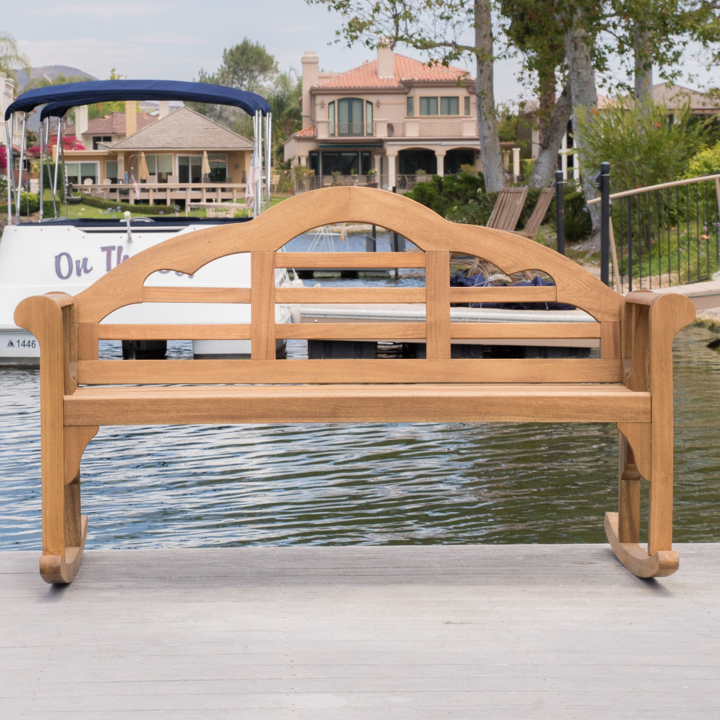 Home garden furniture  Christopher Knight Home Outdoor Abbey Acacia Wood Rocking Bench