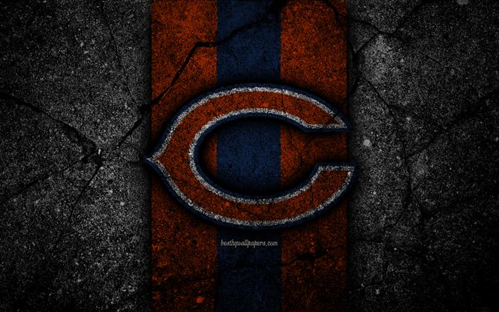 Download wallpapers 4k, Chicago Bears, logo, black stone