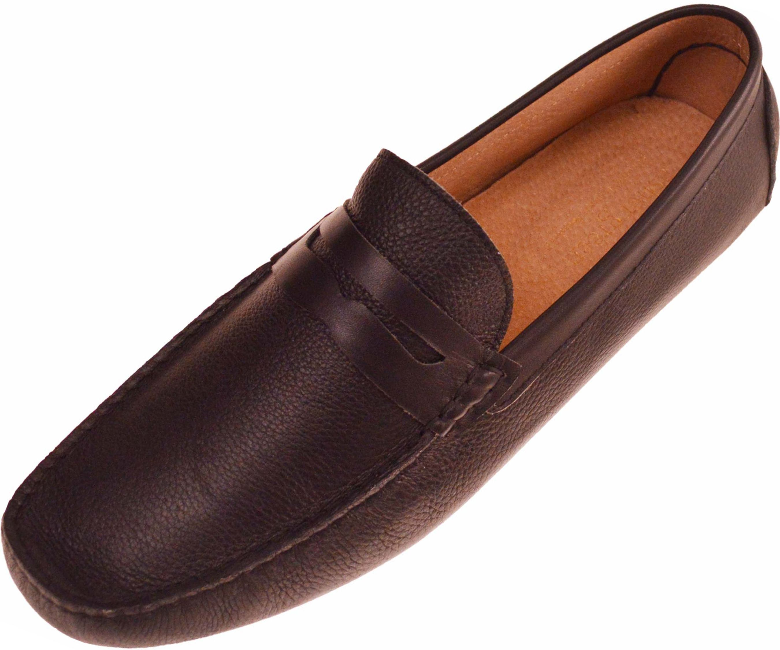 Asher Green Mens Slip On Penny Loafer Style Driving Moccasin Shoes In Black Pebble Grain Leather Style Flagler-000Asher Green Presents Style FlagerGenuine Pebble Grain Leather Penny Loafer Driving Shoe in Black!Slip your feet into a pair of Comfortable AND Stylish Penny Loafers!Click to Check Out this Style in Brown