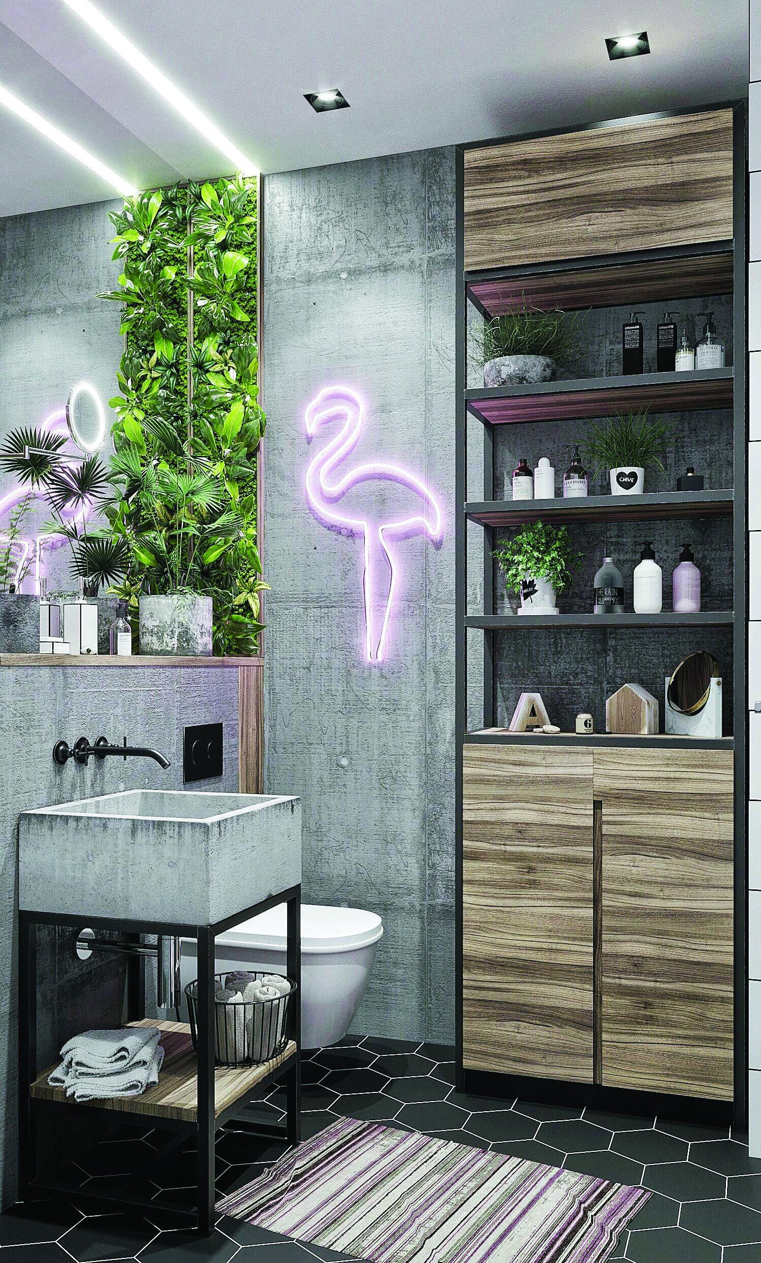 Creative Restroom Closet Concepts Tropical Bathroom Decor