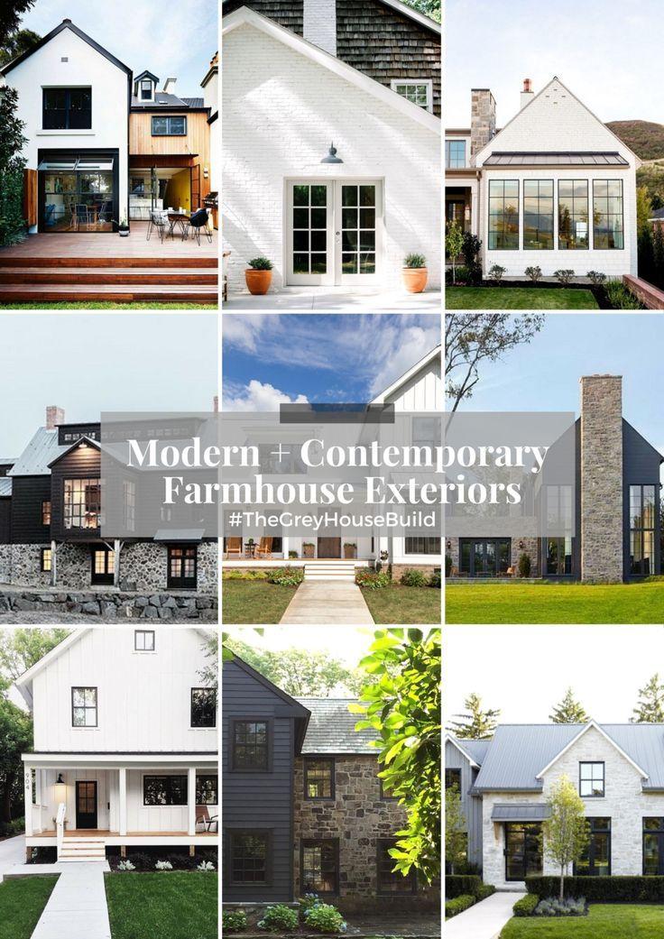 Modern + Contemporary Farmhouse Exteriors #TheGreyHouseBuild   Little  DeKonings