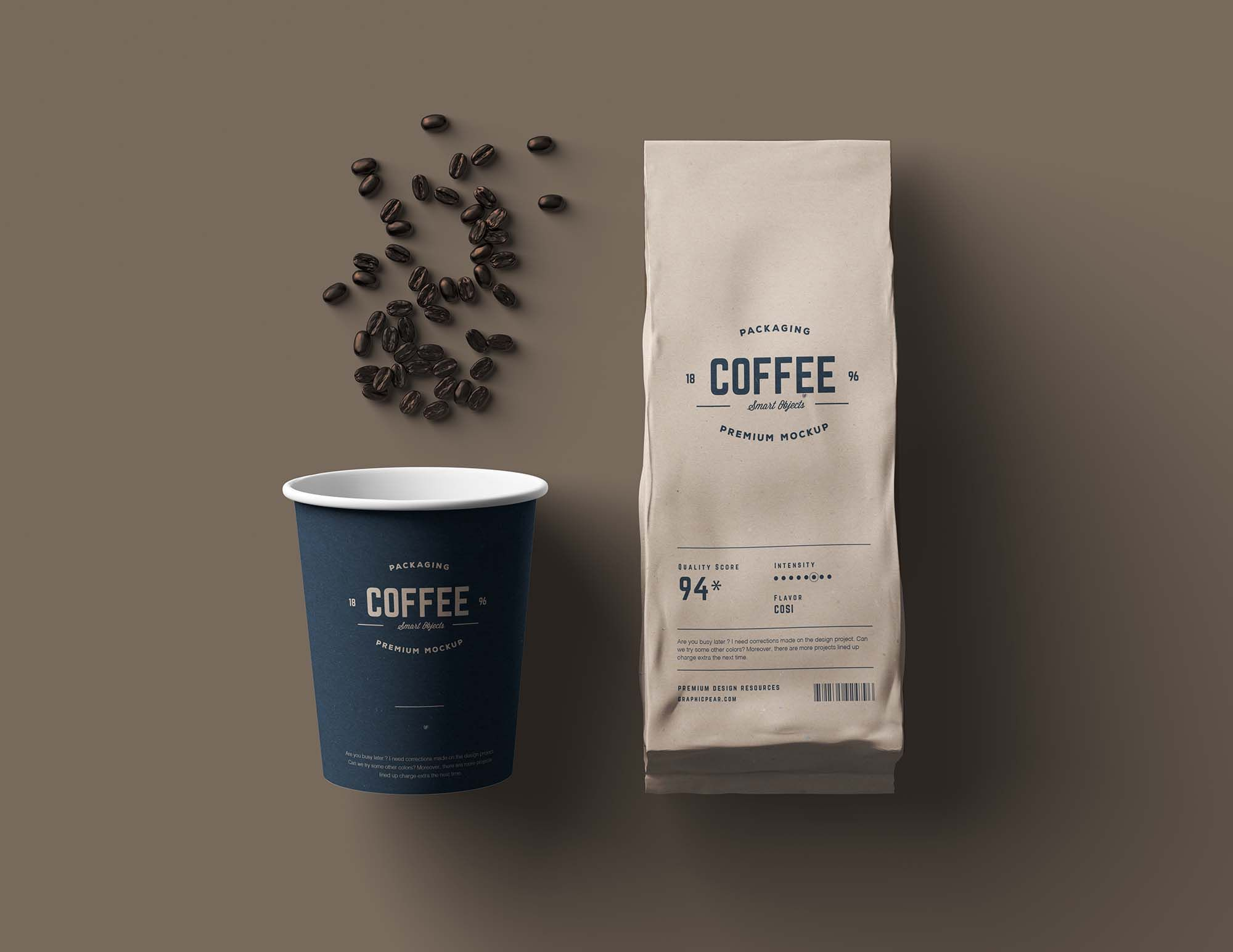 Download Free Paper Coffee Cup And Bag Packaging Mockup Package Mockups In 2020 Paper Coffee Cup Packaging Mockup Coffee