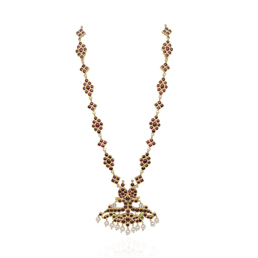 Necklace temple jewellerycrafted peacock natya necklace grt
