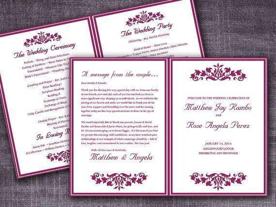 Printable Budding Garden Half Fold Wedding Program Template M