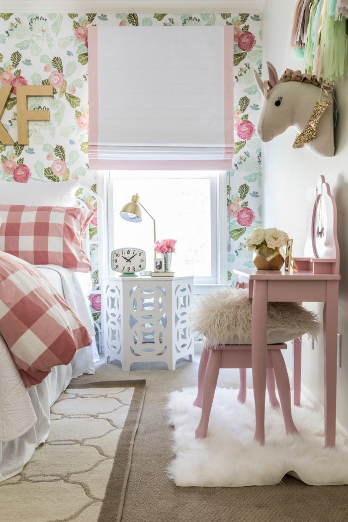 Pictures For Girls Room Part - 18: Big Girl Room Reveal With Floral Wallpaper, Gingham Bedding And Glam Pink  And Gold Accessories