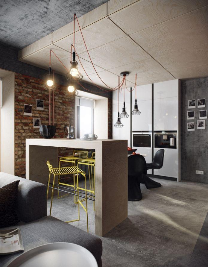 барная стойка в лофт интерьере квартиры интерьеры