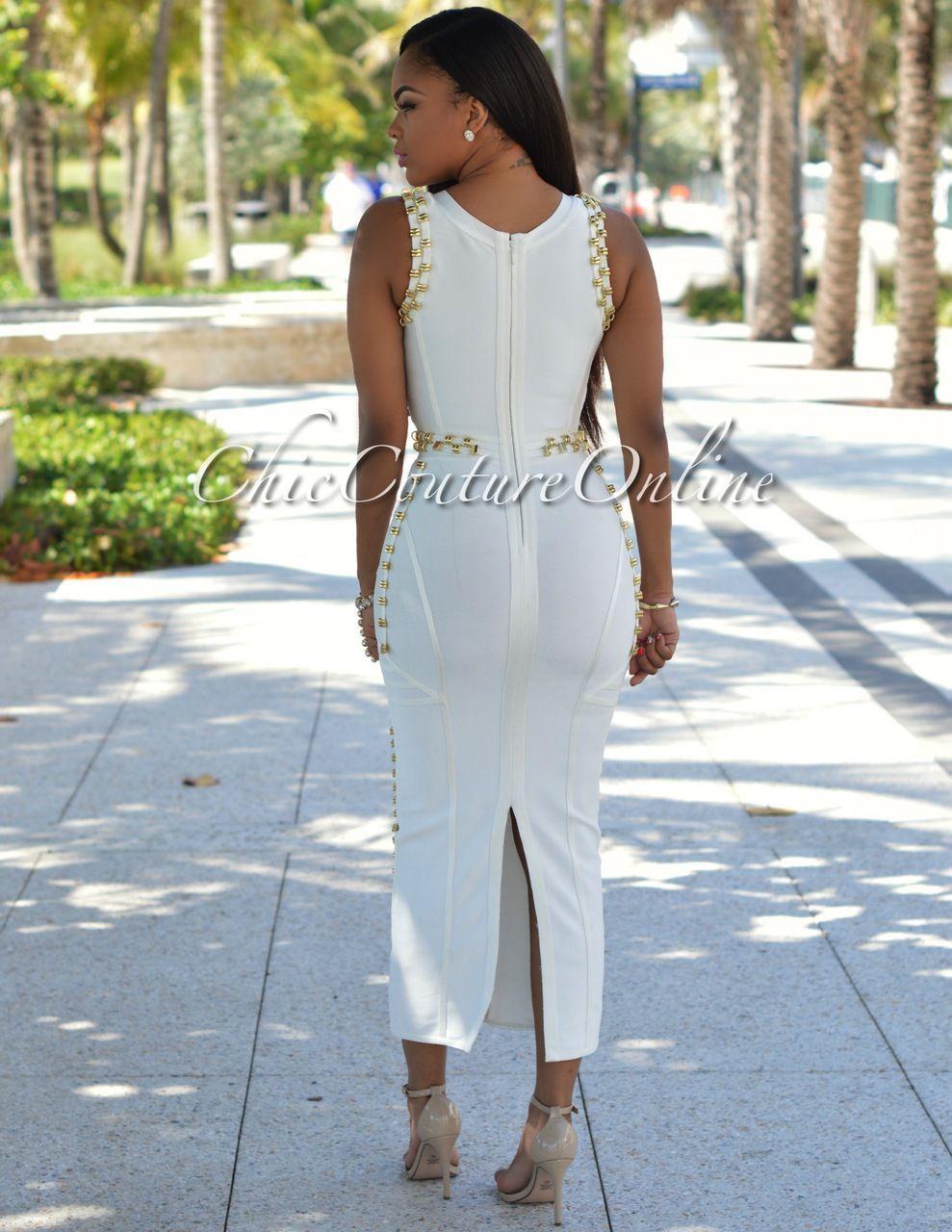 Calico Off-White Gold Decor Luxe Maxi Bandage Dress   White gold ...