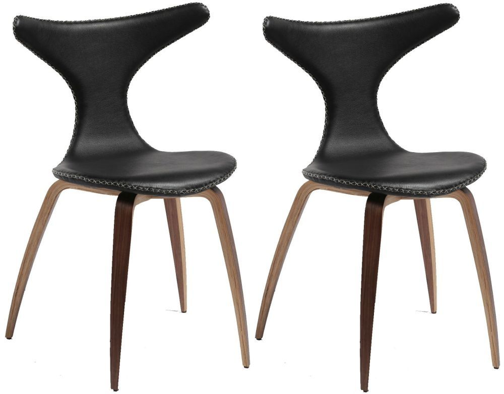 Wonderful Dolphin Black Leather Dining Chair With Oak And Walnut Legs (Set Of 4)