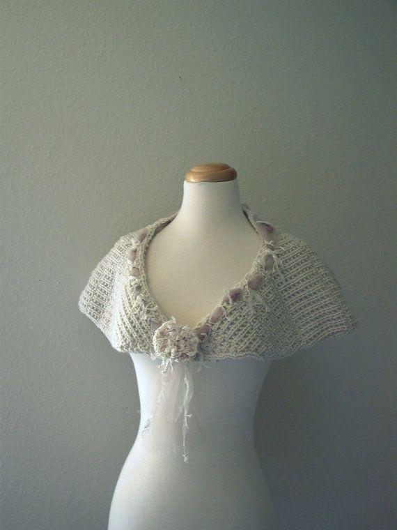hopeless romantic. handknit capelet mori girl shabby cottage chic wedding knit cape wrap shawl bustle ecru natural off white fall fashion on Etsy, $69.00