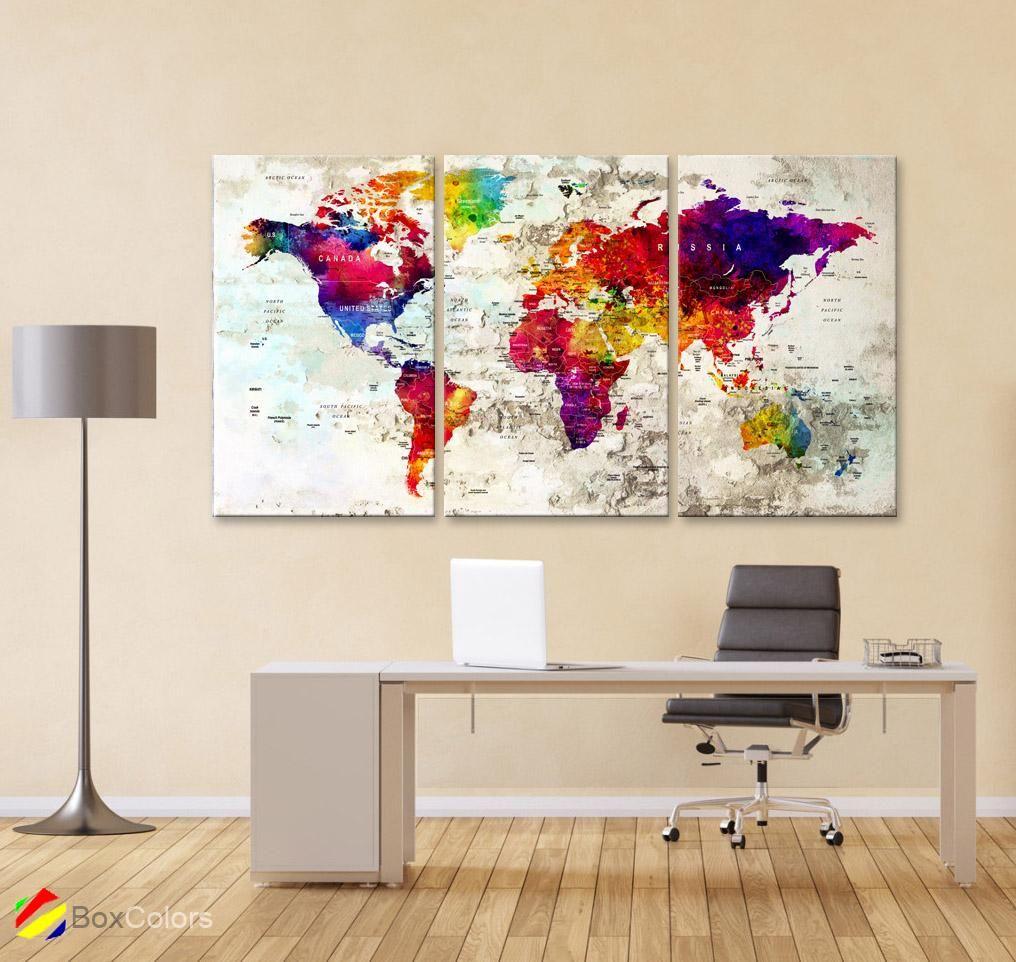 Large 30 X 60 3 Panels 30x20 Ea Art Canvas Print Watercolor Map World Push Pin M1830 Frame Wall Decor Canvas Art Prints Watercolor Map