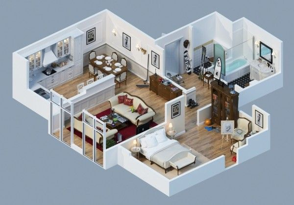 Awesome 3d plans for apartments for the home pinterest for Studio apartment plans 3d