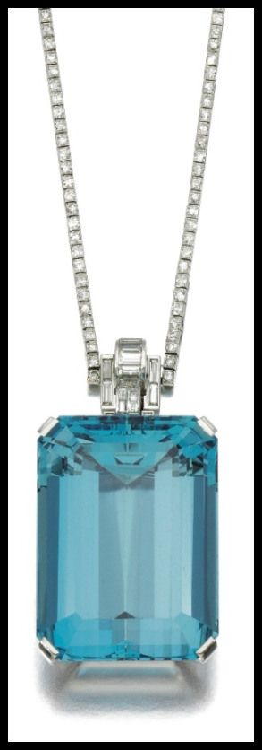 Art Deco aquamarine and diamond necklace, circa 1930. The pendant is signed for Trabert & Hoeffer, Inc and Mauboussin; the chain is signed by Cartier. Via Diamonds in the Library.