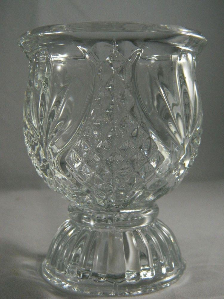 Vintage Pressed Glass Pedestal Votive Candle Holder English Hobnail Diamond 4in.
