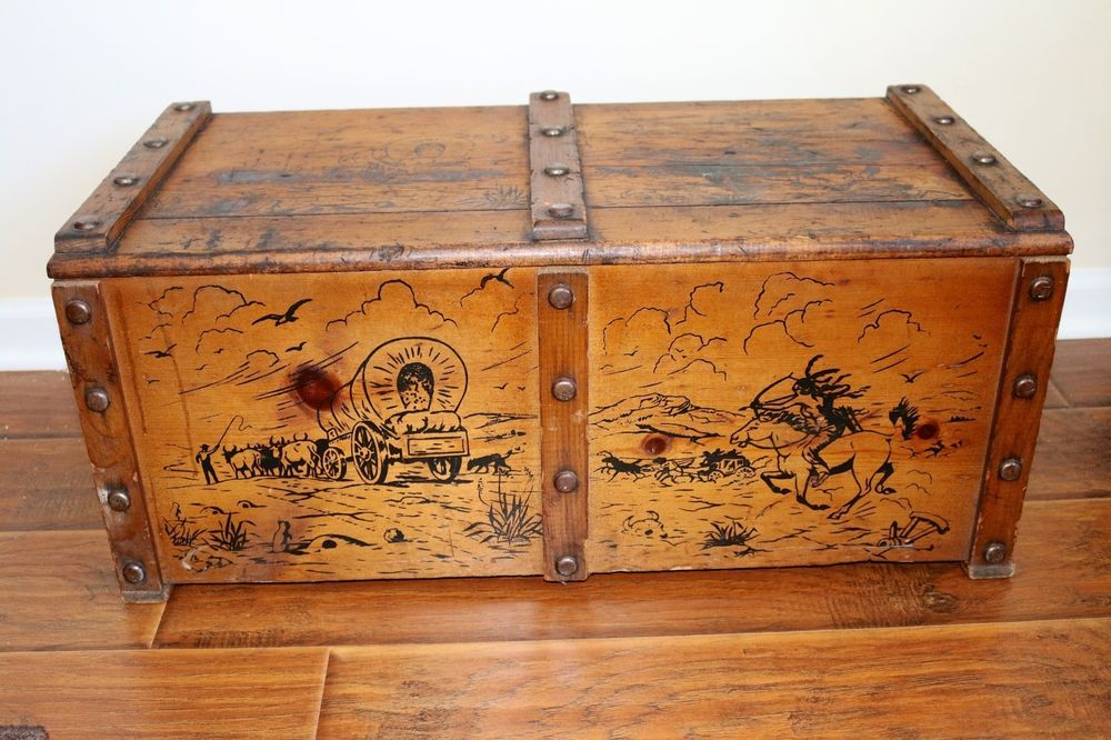 Vintage Cowboy Indian Western Toy Box Wood Wooden Chest Trunk W Rope Handles Toy Boxes Wooden Chest Trunks And Chests