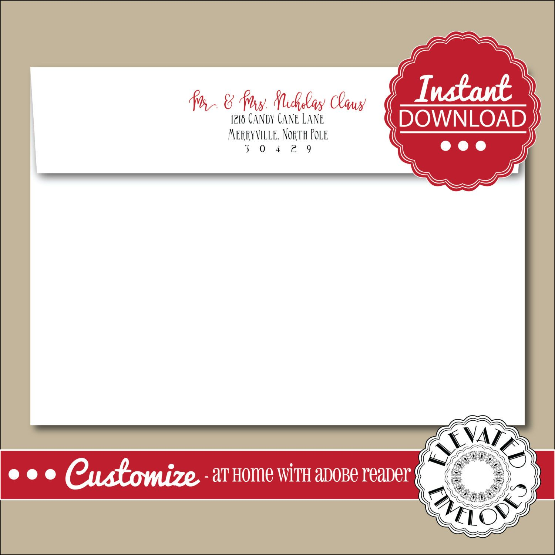 Editable Christmas Envelope Templatechristmas Envelope Etsy Envelope Template Addressing Envelopes Printed Envelopes