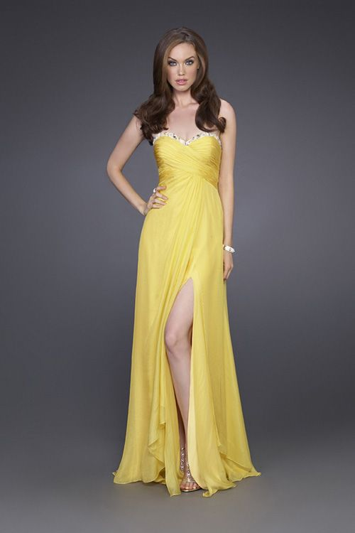 1c9cc1233cc4a A-line Floor Length Shallow Sweetheart Neckline Gold Chiffon Prom Dresses  Front Split