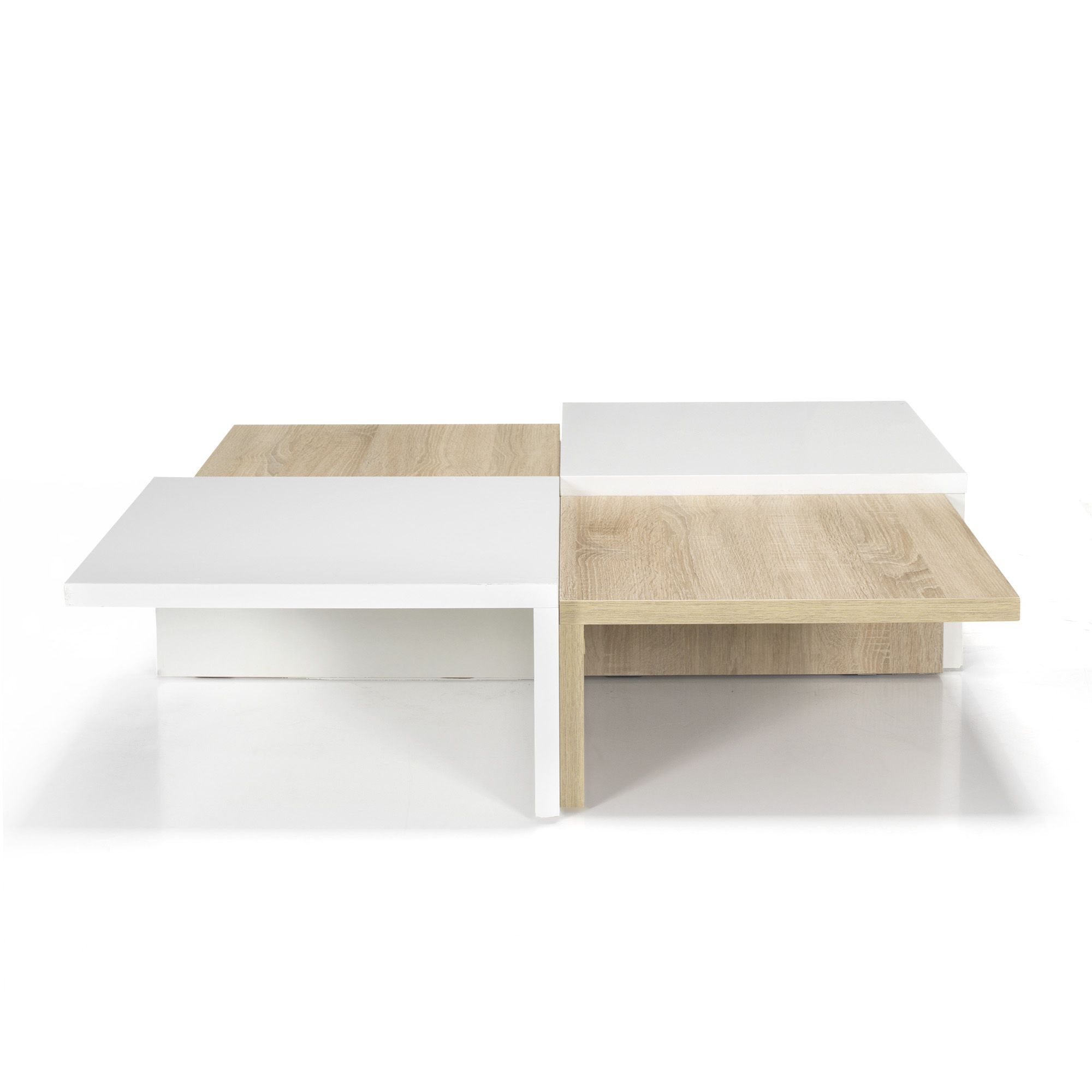 table basse carr e design scandinave blanc naturel. Black Bedroom Furniture Sets. Home Design Ideas