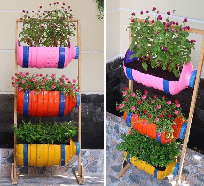 8917b9adb040ec32516a0819f95484ae - Diy Plastic Bottles Hanging Flower Gardens