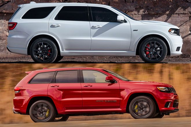 Styling Size Up Dodge Durango Srt Vs Jeep Grand Cherokee Trackhawk Jeep Grand Jeep Grand Cherokee Dodge Durango