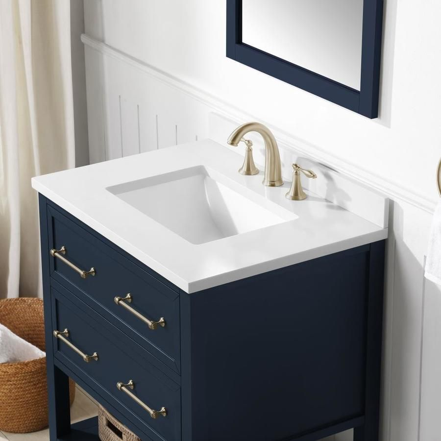 allen roth 30 in Midnight Blue Undermount Single Sink Bathroom Vanity with White Engineered Stone Top