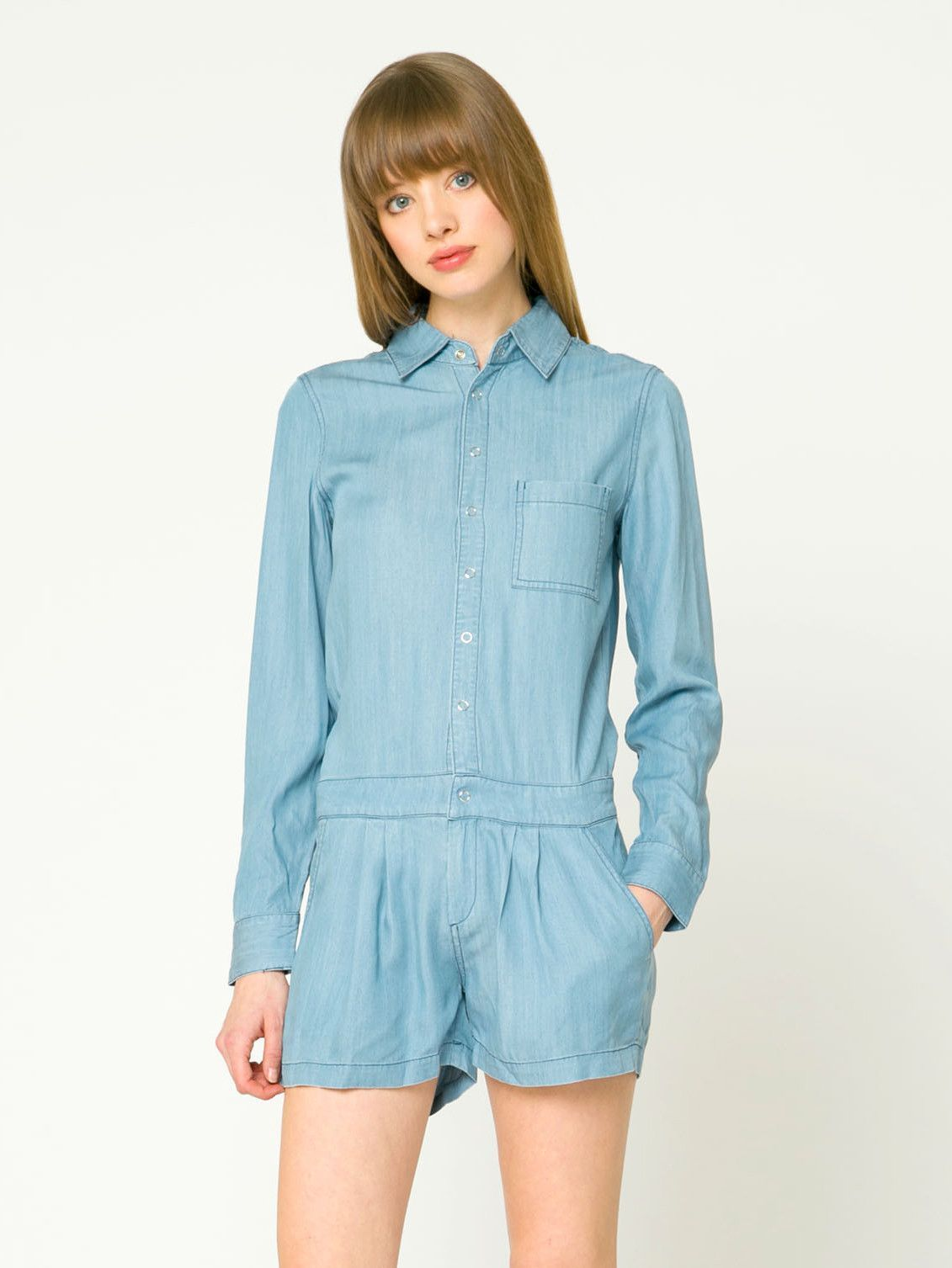 Shirt Romper With Front Pocket