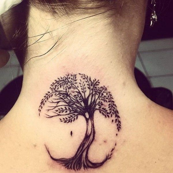 Tree of Life Tattoo on Back of Neck.