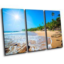 Tropical Beach Scene Large Sunbeams Sand 3 Piece Canvas Print