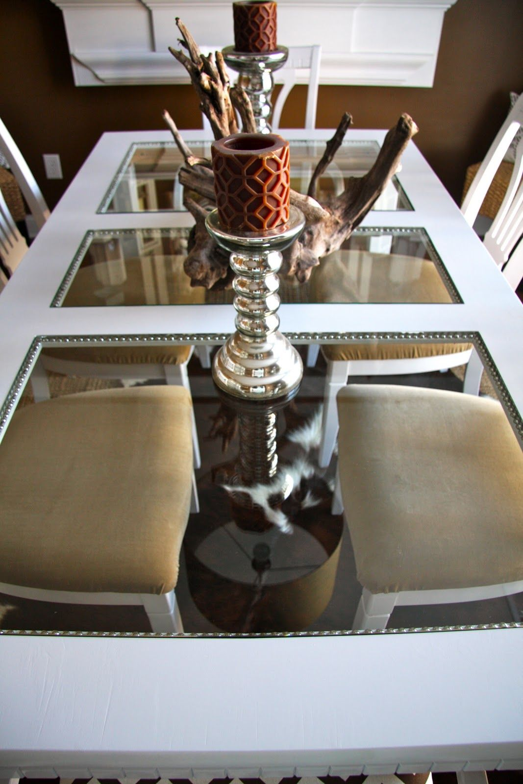 Diy Dining Room Table Makeover With Nailhead Detail And Glass Gorgeous Diy Dining Room Table Makeover 2018