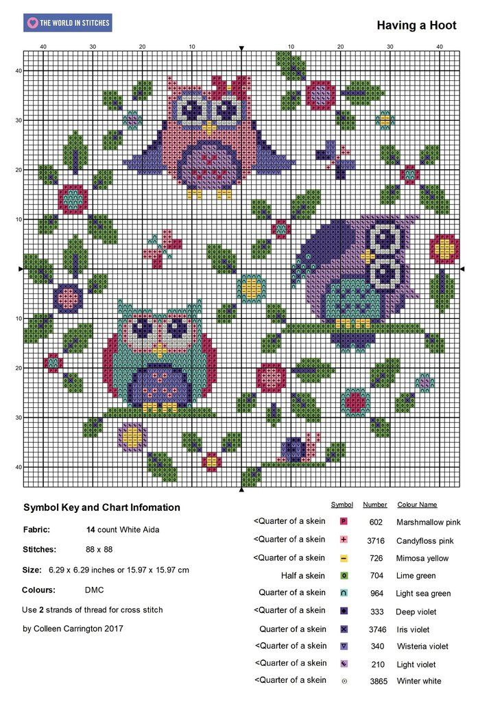 Free Owl Cross Stitch Pattern – The World in Stitches