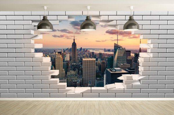 Papier peint trompe l'oeil Mur de briques cassé avec vue sur New-York