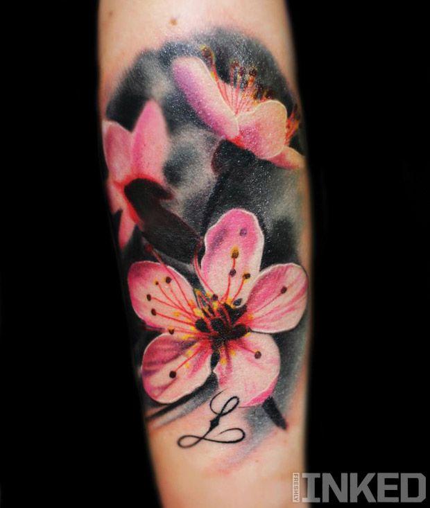 Pink flowers on black tattoo you pinterest tattoo artist and flower tattoos mightylinksfo
